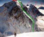 Экспромт (Expromt), TD, AI3, ~3000 m, 2033 m deniwelacji, południowa ściana Piku Wojskowych Topografów (Пик Военных Топографов, 6873 m) Kirgistan (fot. Gleb Sokolov)