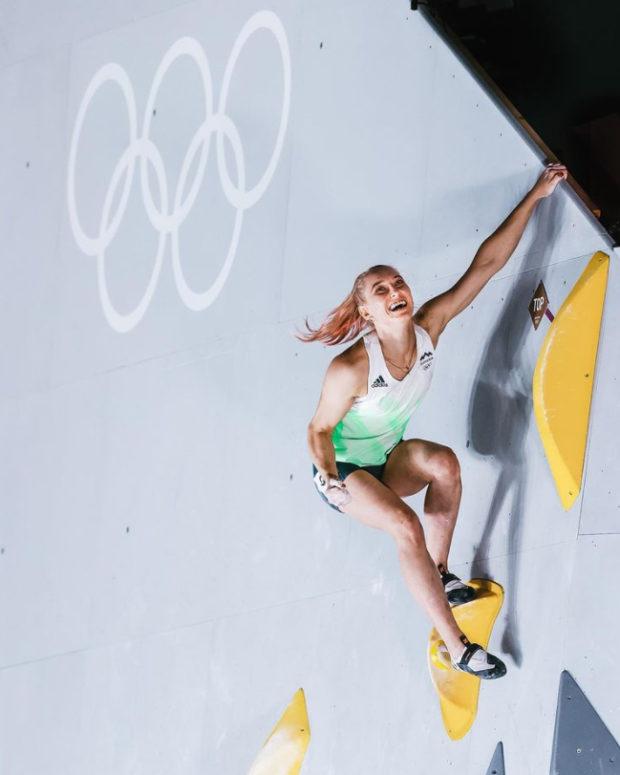 Faworytka zawodów Janja Garnbret, na zdjęciu podczas Igrzysk w Tokio
