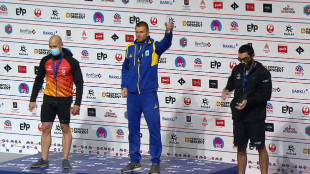 Podium męskie MŚ w Moskwie, czasówki: 1. Daniło Bołdyriew UKR, 2. Erik Noyia Cardona ESP, 3. Noaha Bratschi USA.