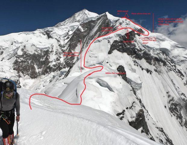 Fragment grani, który musieli pokonać himalaiści, schemat Heliasa Millerioux, członka francuskiej ekspedycji